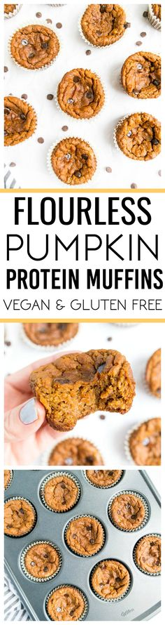 Flourless Pumpkin Protein Muffins! Vegan and Gluten Free! Delicious, one bowl pumpkin muffins, ready in 35 minutes! #vegan #pumpkin #protein #muffins