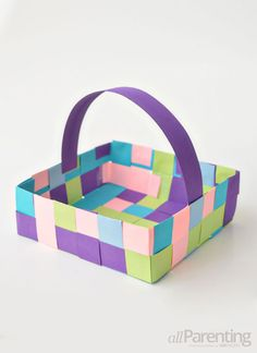 Learn how to weave your own paper May Day basket with the kids!