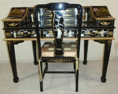 Chinoserie Lacquer Geisha Inlay Asian Oriental Drawer Full Body Desk+Chair Mint