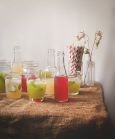 A Trio of Summer Beverages: Honey Lemonade with Hibiscus  Thyme // Peach Iced Tea with Ginger  Basil // Honeydew Agua Fresca with Mint  Anise-Fennel Simple Syrup | Reclaiming Provincial for The Vanilla Bean Blog