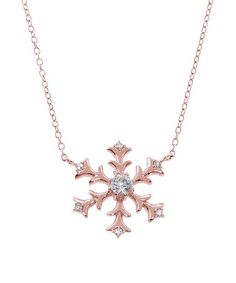 Another great find on #zulily! Cubic Zirconia & Rose Gold Snowflake Pendant Necklace #zulilyfinds
