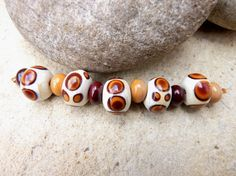 Ivory & Brown Handmade Spotty Lampwork Glass Bead @Etsy £8.00