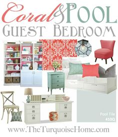 Coral and Pool Guest Bedroom Inspiration Board