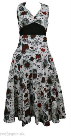 Poizen MIA Dress Goth EMO Punk Rockabilly Black Muerette Doll Skull White Roses | eBay