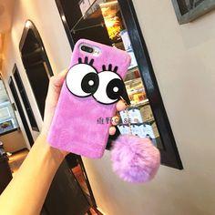 Luxury Bling Cute Big Eye Fur Ball Tassels Soft TPU Phone Cases Cover For iphone 6 6s 6 plus 7 7Plus case