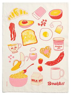 linen tea towel with Breakfast design. Hand screen-printed in Melbourne in three colours. Graphic Design Illustration, Digital Illustration, Tea Illustration, Pattern Illustration, Graphic Design Art, Web Design, Art Graphique, Grafik Design, Food Illustrations