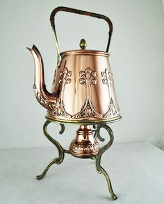 Art Nouveau Antique Tea Pot Spirit Kettle Deco Vintage Copper Brass German