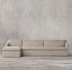 The Petite Belgian Classic Slope Arm Preconfigured Slipcovered Left-Arm Sofa Chaise Sectional $3050