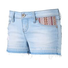 Juniors' Hydraulic Release Hem Ripped Shortie Shorts, Girl's, Size: