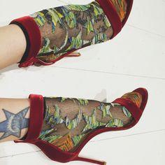 Vivienne Westwood socks with red velvet shoes