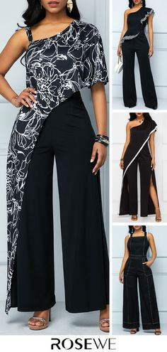 jumpsuits For Women Black Romper, Black Jumpsuit, Hijab Fashion, Fashion Dresses, Corporate Outfits, Latest Fashion For Women, Womens Fashion, One Shoulder Jumpsuit, Online Shopping For Women
