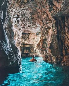 Swimming through the blue caves of Istra, Croatia  Photography by @doyoutravel