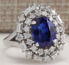 ESTATE 4.75CTW NATURAL BLUE KYANITE AND DIAMOND RING 14K SOLID WHITE GOLD in Jewelry & Watches, Fine Jewelry, Fine Rings | eBay