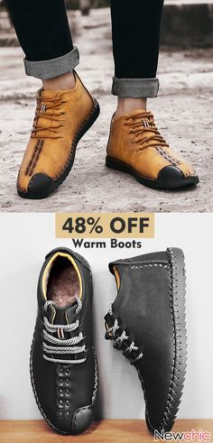 Menico Large Size Men Hand Stitching Leather Non-slip Soft Sole Warm Casual Boots Men Leather Soft Warm Casual Boots. Boat Shoes, Men's Shoes, Shoe Boots, Dress Shoes, Mode Masculine, Leather Men, Leather Shoes, Mens Fashion Online, Fashion Men