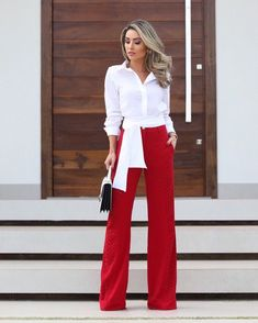Best Women S Fashion Websites Info: 7724981967 Business Casual Outfits For Work, Stylish Outfits, Red Fashion, Fashion Outfits, Womens Fashion, Fashion Trends, White Shirt Outfits, White Shirts, Dress Attire