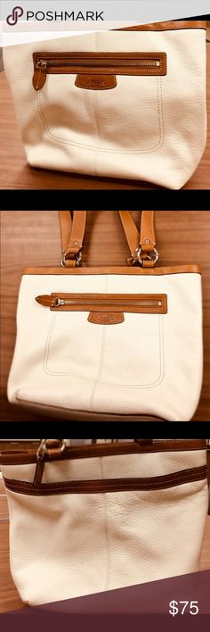 Coach White Leather Tote Handbag Authentic Coach white leather tote bag. Green satin lining. Coach Bags Totes