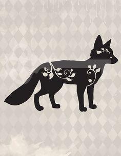 filigree fox silhouette original illustration by TanglesGraphics, $1.00
