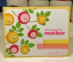 """A sweet, clean and simple Mother's Day card made with """"Betsy's Blossoms"""" Item # 126004 and """"Delightful Dozen"""" Item 122652 stamps from Stampin' Up!  Michelle Suit - Suitably Stamped Studio disneysuitsme.blogspot.com stampinsuitsme.stampinup.net"""