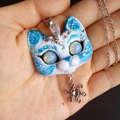 Snowflake - Frozen Winter Themed Kitty Cat OOAK necklace Pendant with glass beads by FleurDeLapin on Etsy
