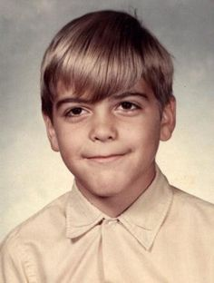 See childhood photos of actor, celebrity and sex symbol George Clooney throughout his childhood and high school years before his big break on the hit TV show, Celebrities Then And Now, Young Celebrities, Young Actors, Celebs, George Clooney, Celebrity Yearbook Photos, Celebrity Babies, Yearbook Pictures, Famous Photos