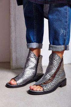 kobe husk   Kobe Husk Alloy Metallic Peep-Toe Boot #kobehusk #peeptoe #metallic #boots