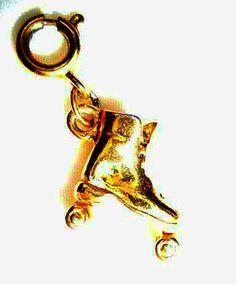 Antique10Kt Gold Rollar Skate Charm gift by SteampunkEarthstones