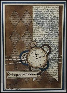 """handmade card ... vintage feel ... browns, blues & cream ...  Clockworks & Itty Bitty Banners ... great """"man card"""" ... Stampin' Up!"""