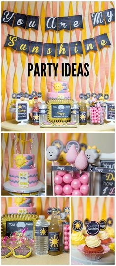 Such a fun sunshine and raindrops party! Don't miss the cute cake pops! See more party ideas at CatchMyParty.com!