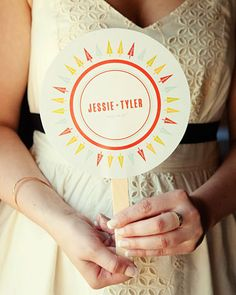 Festive and practical program fans fit the bill for a summer wedding