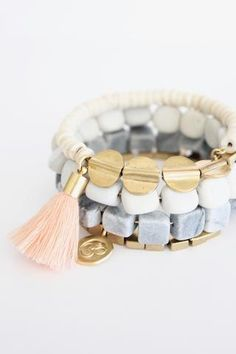 wrap bracelet with river stone, marble, magnesite, cotton tassel, and brass beads. Gemstone Bracelets, Jewelry Bracelets, Gemstone Necklace, Jewellery Earrings, Bead Jewelry, Silver Earrings, Jewelery, Bangles, Making Jewelry For Beginners