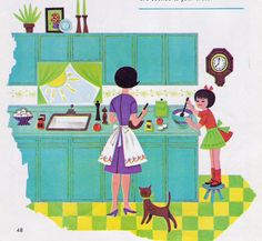 From Jack and Jill magazine, January 1967.  Art by Audrey Walters. Illustration for breakfast recipes.