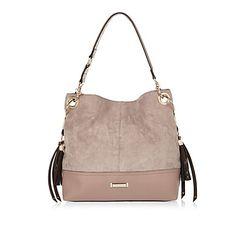 Grey faux suede slouchy tassel handbag £32.00