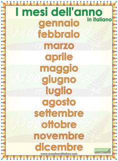 Learning Italian Language ~ Months of the year in Italian -- I mesi dell'anno in italiano