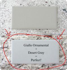 Kitchen | Giallo ornamental granite and desert gray subway tile backsplash