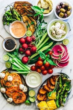 20 of The Best Summer Recipes || Crudite Platter and Cheese Board with Balsamic, Hummus, and Dip