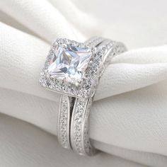 Platinum Plated AAA CZ Princess Cut Wedding Ring