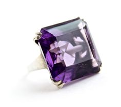Vintage Sterling Silver Ring - Size 7 1/2 1960s Uncas Cocktail Purple Glass Stone Costume Jewelry / Chunky Statement Maejean VINTAGE, $65.00