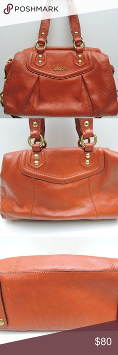 """COACH """"Ashley"""" red/orange handbag This bag is soft leather with brass tone hardware, pleated double handles, a strap, zip closure, two interior slip pockets and an interior zip pocket. I'm a UT fan, so I had to buy it. I lost the cover, but it's kept in a plastic container and cleaned often. It does have one spot on the back (shown in picture), but it's in really good overall condition. Make me an reasonable offer and I'll consider it. Dimensions: Width: 13""""Height: 7.5""""Depth: 4.5""""Drop: 6""""…"""