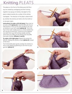 Instructions - How to knit pleats