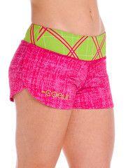 Pink Tartan Run Shorts from Coeur Sports