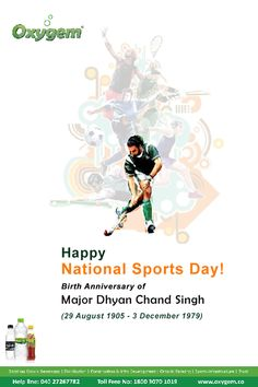 On Occasion of Birth Anniversary! Let`s remember the Indian Hockey Player and one of the greatest players in the history of the sport Aug. National Sports Day, Pipeline Project, Benefits Of Drinking Water, Water Branding, The Pipeline, Create Awareness, Hockey, Birth