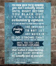 INSTANT DOWNLOAD Stiles Stilinski Teen Wolf Water Quote Poster 9x12 on Etsy, $6.00