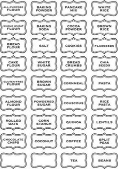 These are so awesome! What a great way to help organize your cabinets or pantry with these labels. This listing is for FOUR labels of your Kitchen Labels, Pantry Labels, Canning Labels, Canning Recipes, Kitchen Pantry, Vinyl Wall Art, Vinyl Decals, Printable Labels, Printables
