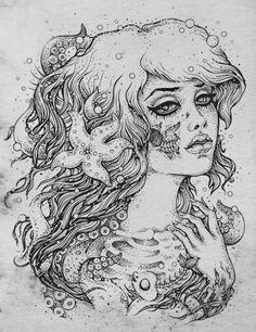 Zombie mermaid drawing.