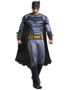 Batman V Superman Batman Men Costume Deluxe - Batman v. Superman: Dawn of Justice Costume includes a padded jumpsuit with gauntlets and boot tops, plus belt, cape, and mask. Comes in one Standard size, fits adults sizes Batman Costume For Kids, Batman Halloween Costume, Superman Costumes, Superhero Halloween, Adult Halloween, Halloween Nails, Halloween Ideas, Halloween Club, Trendy Halloween
