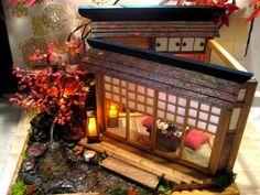 紅葉の露天風呂 過去作品♪ ミニチュア・和風ドールハウスの画像 | バンビーニ  ミニチュア・ドールハウス・インテリア雑貨の部屋