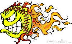 Flaming Fastpitch Softball Ball Face Vector Illustration