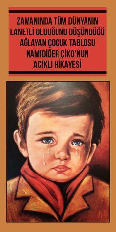 """1980'li yıllarda Türkiye'de çok sayıda minibüs camlarının, dükkanların ve evlerin duvarını süsleyen """"Ağlayan Çocuk"""" resmi, son 30 yılda tam bir şehir efsanesine dönüştü. İngiltere'de 1950'lerden beri 250,000 adet satılan tablonun hikayesi ise yanlış anlaşılmalarla dolu. """"Ağlayan Çocuk"""" tablosu namıdiğer """"Çiko""""nun acıklı hikayesine hadi hep birlikte bakalım... Barbie I, Portrait Art, Artist Painting, Catwoman, Sailor, Nostalgia, Poetry, Culture, Education"""