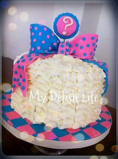 Gender Reveal Cake Baby Shower Cake Boy Girl Cake Baby Cake Blue Pink Cake Bow  Buttercream Buttercream Ruffles  (design inspired by Mcgreevy) Www.facebook.com/MyDelishLife
