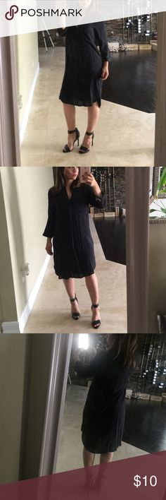 H&M black shirt dress sz 6 H&M black shirt dress sz 6, used once. Like new H&M Dresses Midi